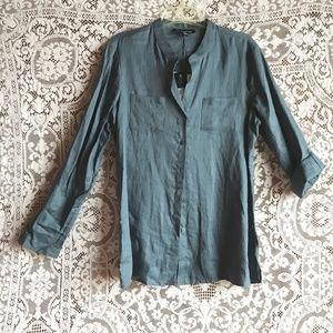 Jones New York Slate Blue Tunic Blouse 14 NWT